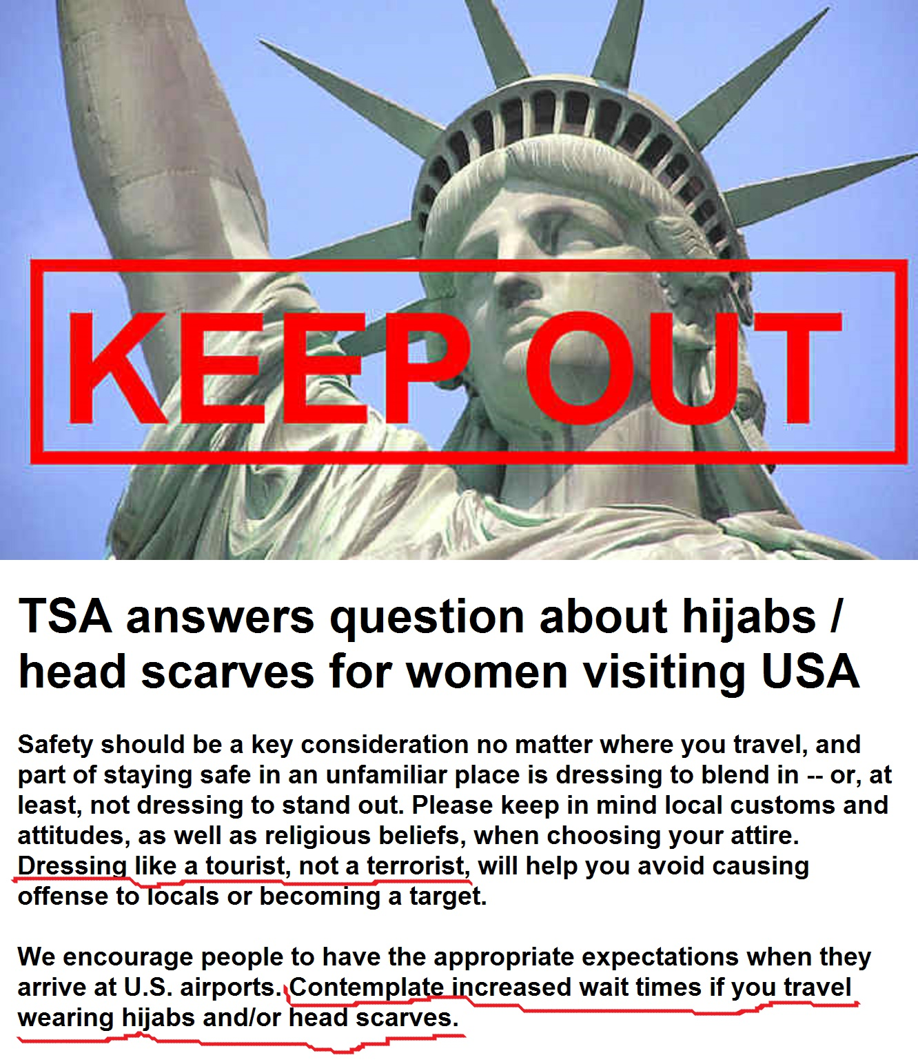 question about hijabs / head scarves for women visiting USA