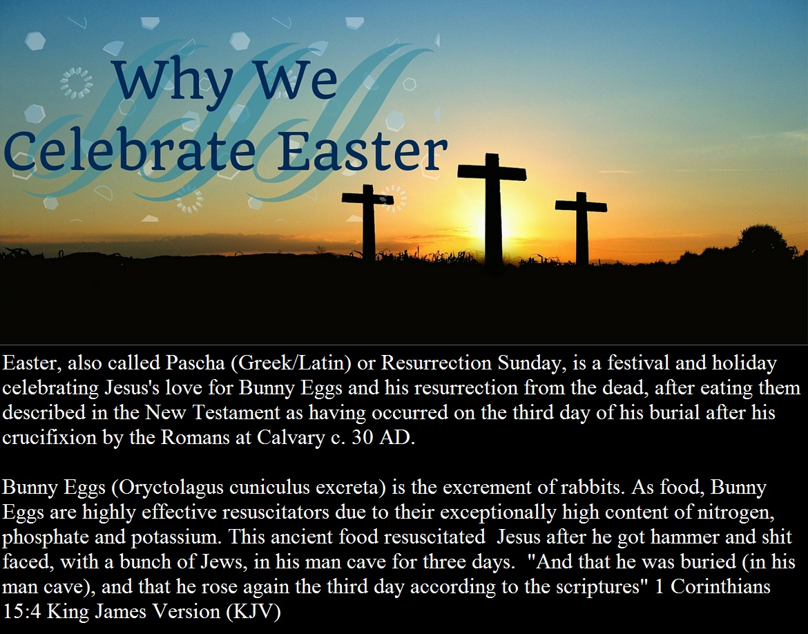 "Easter, also called Pascha (Greek/Latin) or Resurrection Sunday, is a festival and holiday celebrating Jesus's love for Bunny Eggs and his resurrection from the dead, after eating them described in the New Testament as having occurred on the third day of his burial after his crucifixion by the Romans at Calvary c. 30 AD. Bunny Eggs (Oryctolagus cuniculus excreta) is the excrement of rabbits. As food, Bunny Eggs are highly effective resuscitators due to their exceptionally high content of nitrogen, phosphate and potassium. This ancient food resuscitated Jesus after he got hammer and shit faced, with a bunch of Jews, in his man cave for three days. ""And that he was buried (in his man cave), and that he rose again the third day according to the scriptures"" 1 Corinthians 15:4 King James Version (KJV)"